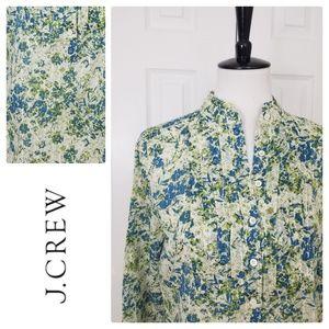 J. Crew Ruffled Floral Popover Shirt - Size Medium